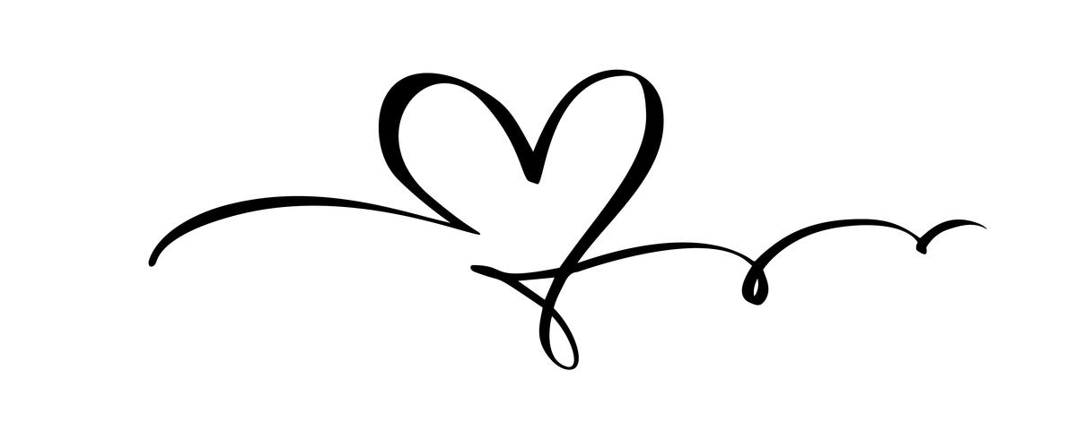 Hand drawn Heart love sign. Romantic calligraphy vector illustration. Concepn icon symbol for t-shirt, greeting card, poster wedding. Design flat element of valentine day
