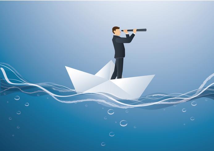Un hombre de negocios mira a través de un telescopio de pie en el vector de barco de papel, ilustración del concepto de negocio