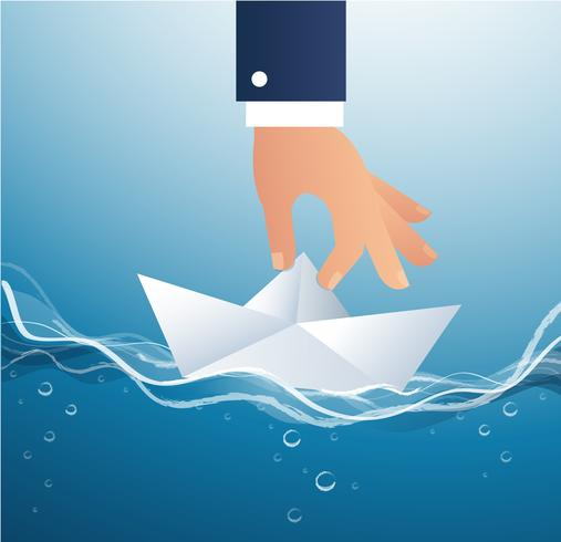big hand holding paper boat vector, business concept illustration