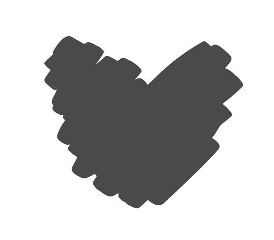 Corazón de vector dibujado mano con borde áspero. Ilustración de tinta pincel seco. Símbolo del icono de Concepn para la camiseta, tarjeta de felicitación, boda del cartel. Elemento plano de diseño del día de san valentín.
