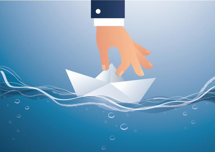 big hand holding paper boat vector, business concept illustration  vector