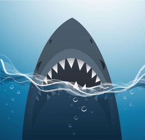 Tiburón en la ilustración de vector de fondo de mar azul