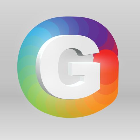3D personage uit een fontset met kleurrijke achtergrond, vector illustartion