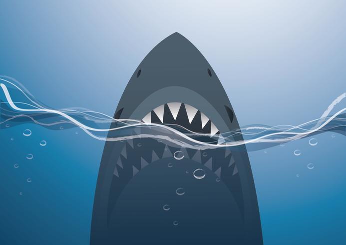 haai in de blauwe zee achtergrond vectorillustratie vector