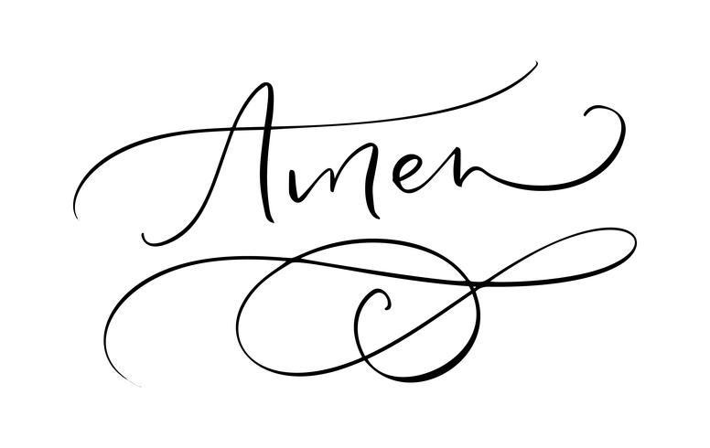 Amen vector calligraphy Bible text. Christian phrase isolated on white background. Hand drawn vintage lettering illustration