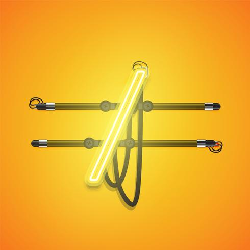 Realistic glowing yellow neon charcter, vector illustration
