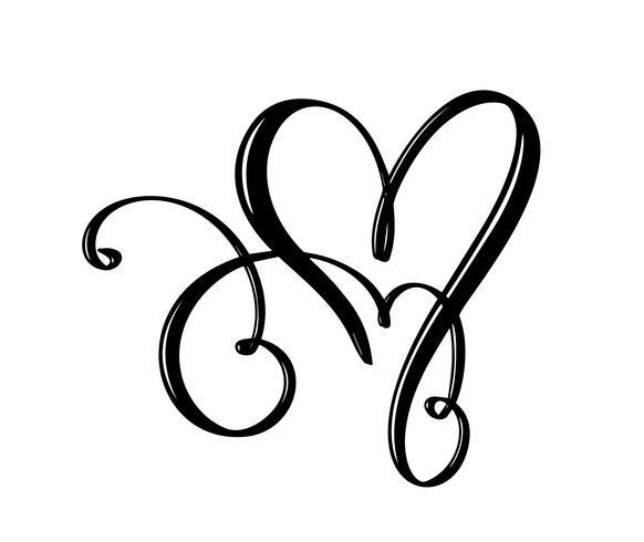 Hand getekend twee Hart liefde teken. Romantische kalligrafie vectorillustratie. Concepn pictogram symbool voor t-shirt, wenskaart, poster bruiloft. Ontwerp platte element van dag van de Valentijnskaart