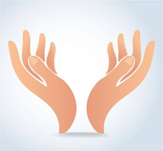 manos sosteniendo vector de diseño, manos oran logo