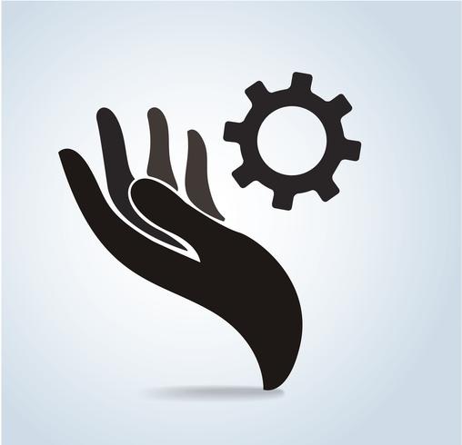 hand holding gear design icon vector