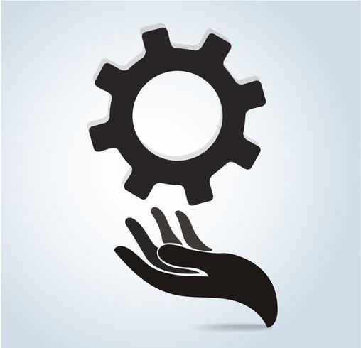 hand holding gear design icon vector