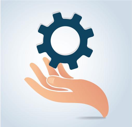 vector de icono de diseño de engranajes de mano