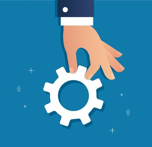 hand som håller kugghjul och bakgrund, en affärsidé vektor illustration