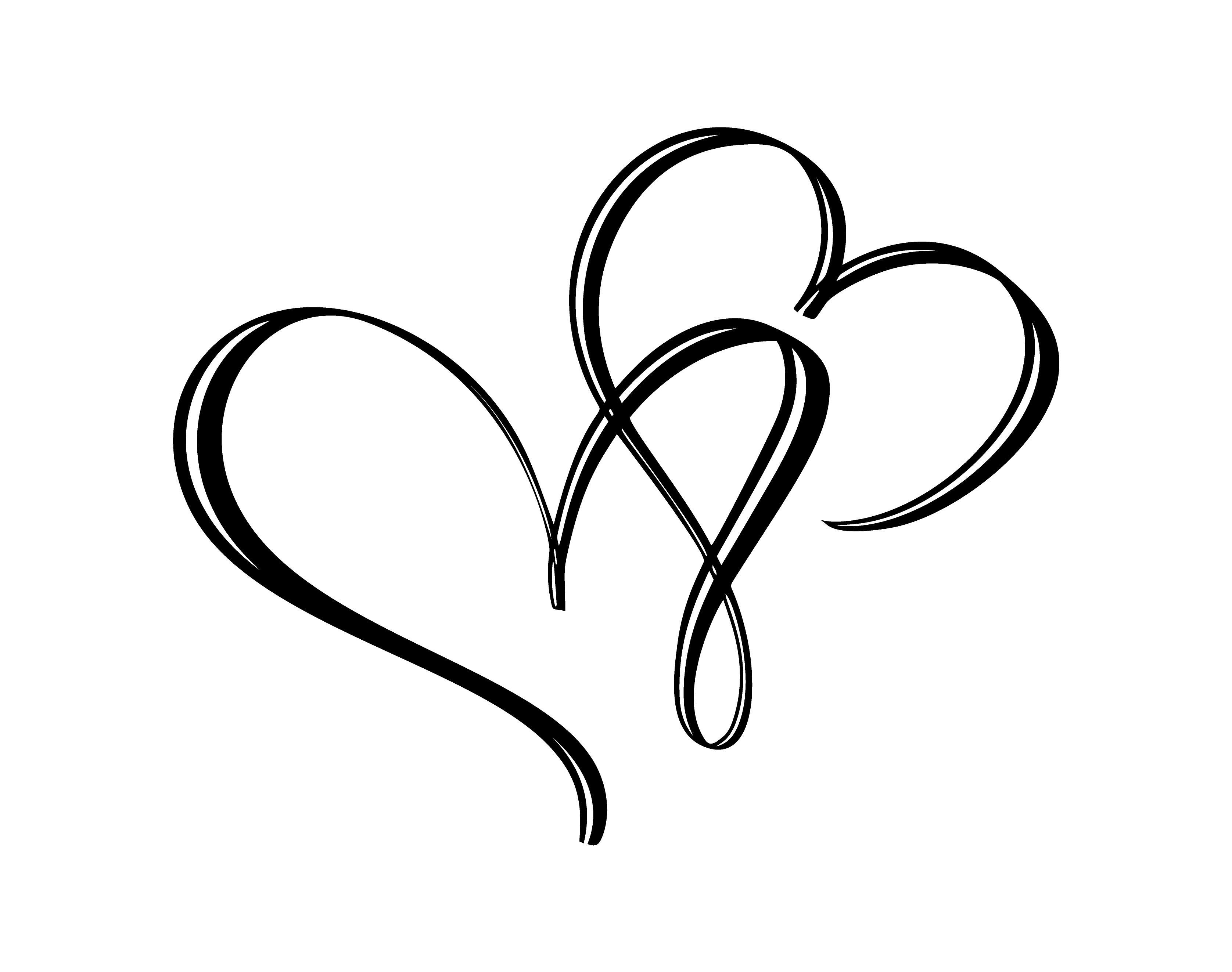Hand drawn two Heart love sign. Romantic calligraphy ...