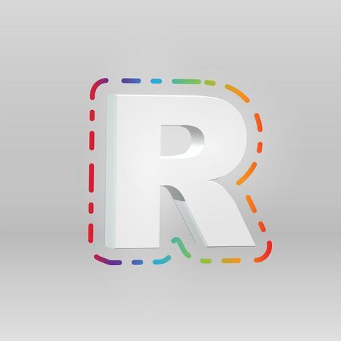 Caráter 3D de um fontset com fundo colorido, vetor illustartion