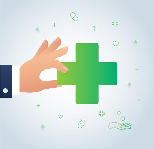 hand holding medical icon sign vector, the concept of healthcare illustration
