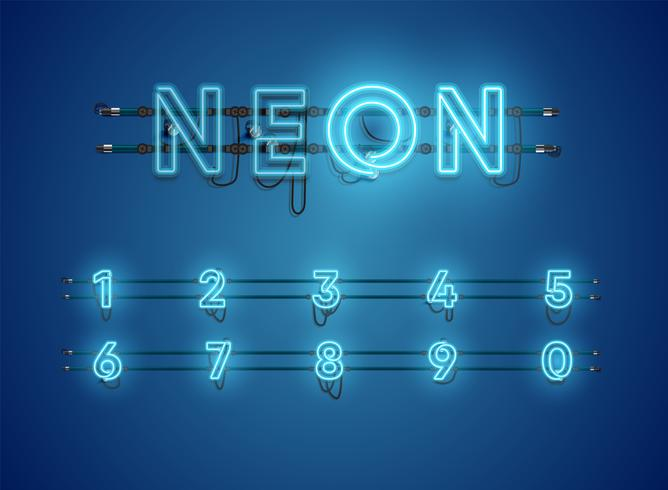Realistic glowing blue neon charcter set vector
