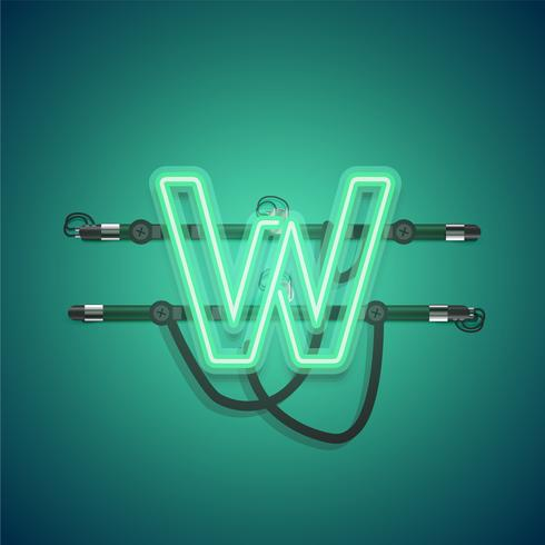 Realistic glowing green neon charcter, vector illustration