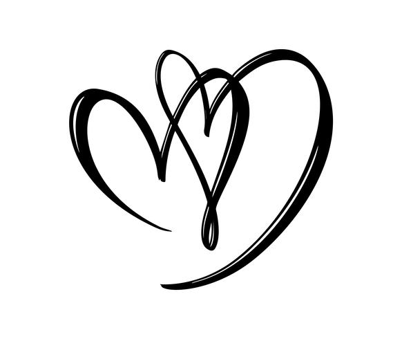 Hand drawn two Heart love sign. Romantic calligraphy vector illustration. Concepn icon symbol for t-shirt, greeting card, poster wedding. Design flat element of valentine day