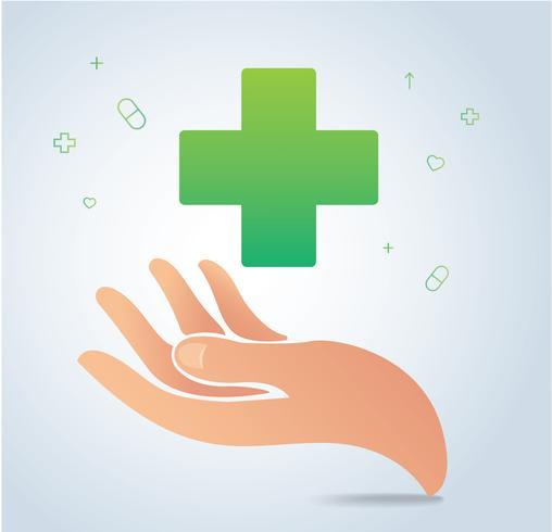 Hand, die medizinischen Ikonensymbolvektor, Gesundheitswesenkonzept hält