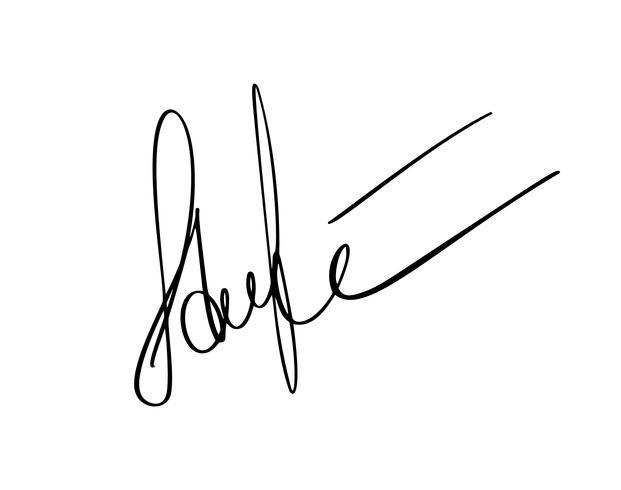 Manuell signatur för dokument på vit bakgrund. Handgjord kalligrafi bokstäver Vektor illustration