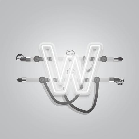 Realistic glowing grey neon charcter, vector illustration