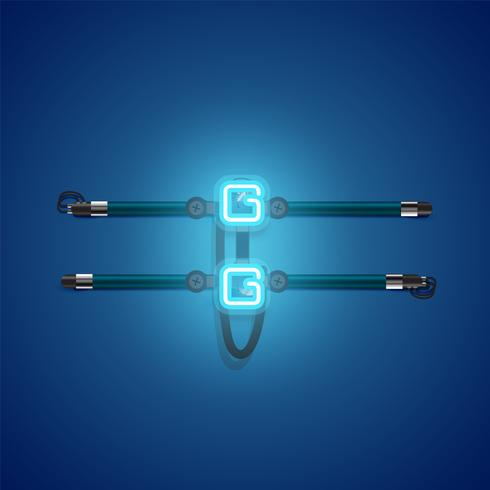 Realista brillante neón azul charcter, ilustración vectorial vector