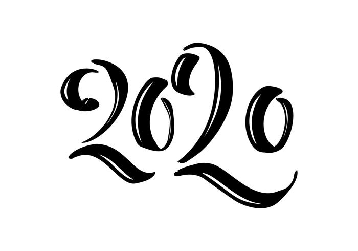 Hand drawn vector lettering calligraphy black number text 2020. Happy New Year greeting card. Vintage Christmas illustration design