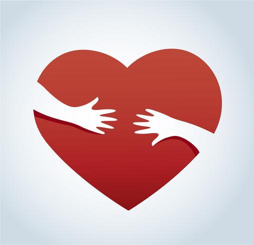 Manos abrazando el vector de corazón, concepto de amor y cuidado