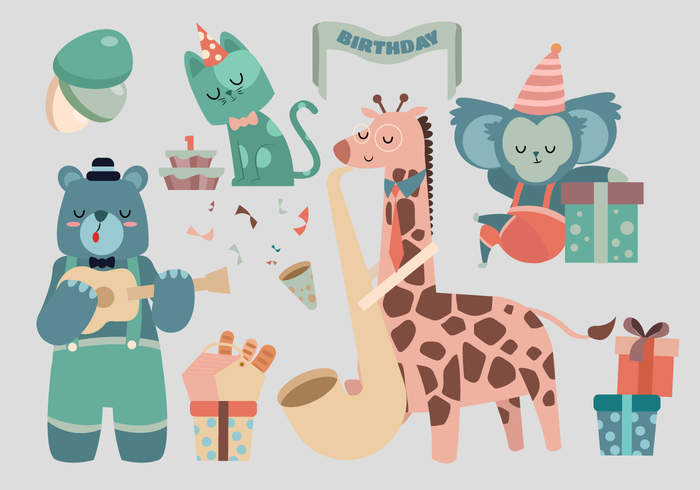 Cute Animal Birthday Characters Vector Illustration