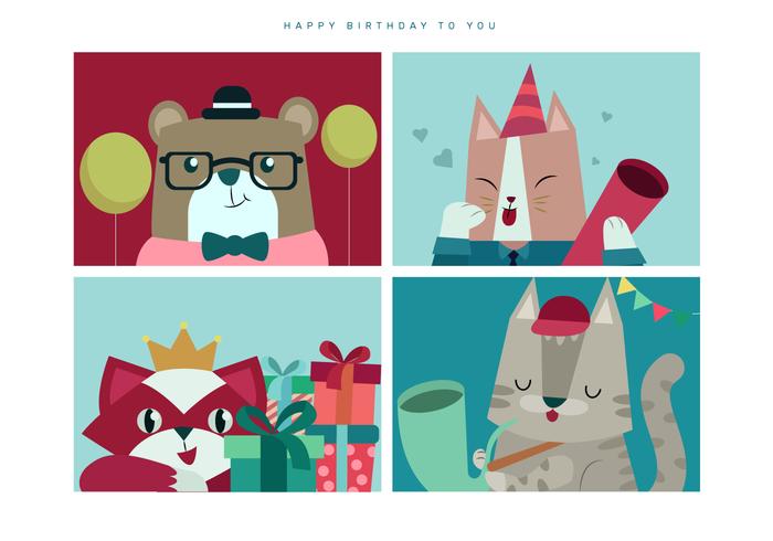 Lindo animal cumpleaños retrato vector illustration