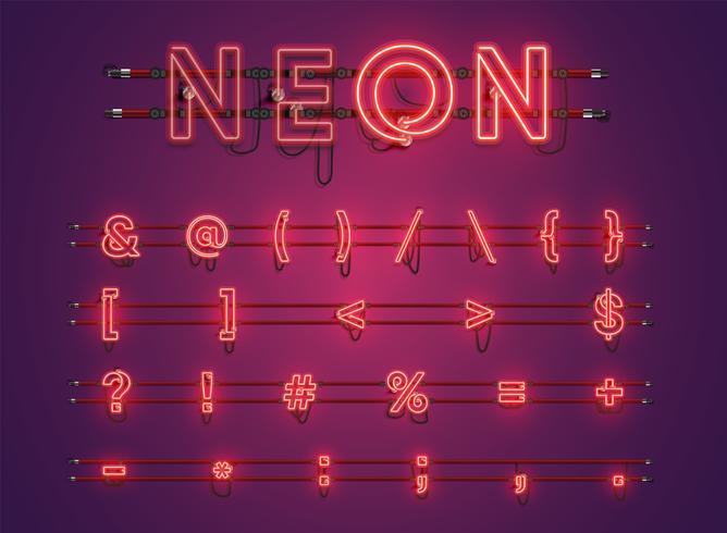 Realista púrpura brillante conjunto de caracteres de neón vector