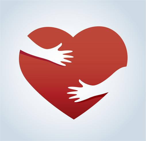 hands hugging the heart vector, concept of love and care vector