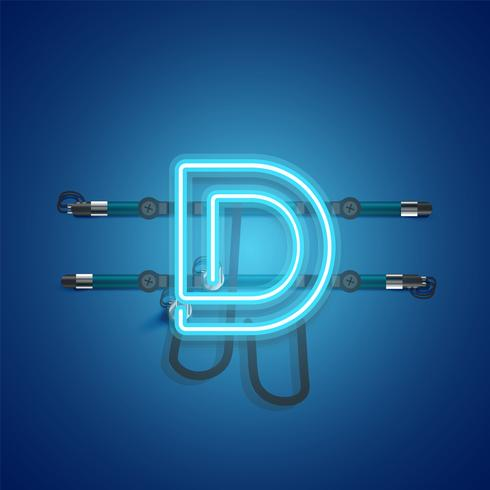 Realistic glowing blue neon charcter, vector illustration
