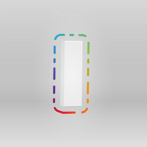 Personnage 3D d'un ensemble de polices avec un fond coloré, illustration vectorielle
