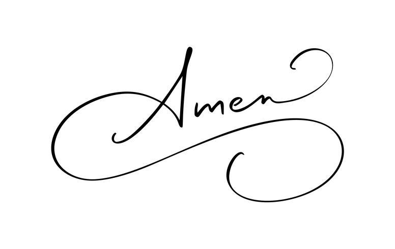 Amen-Vektorkalligraphie-Bibeltext. Christliche Phrase lokalisiert auf weißem Hintergrund. Hand gezeichnete Weinlesebeschriftungsillustration