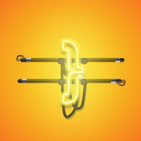 Realista brillante neón amarillo charcter, ilustración vectorial vector