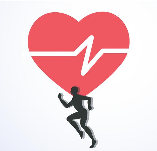 running and red heat with line icon, run for health icon vector