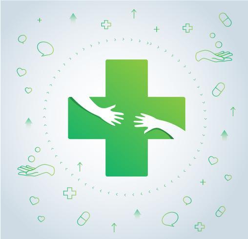 abraço de mãos no ícone do hospital design, saúde e médico logotipo símbolo vector