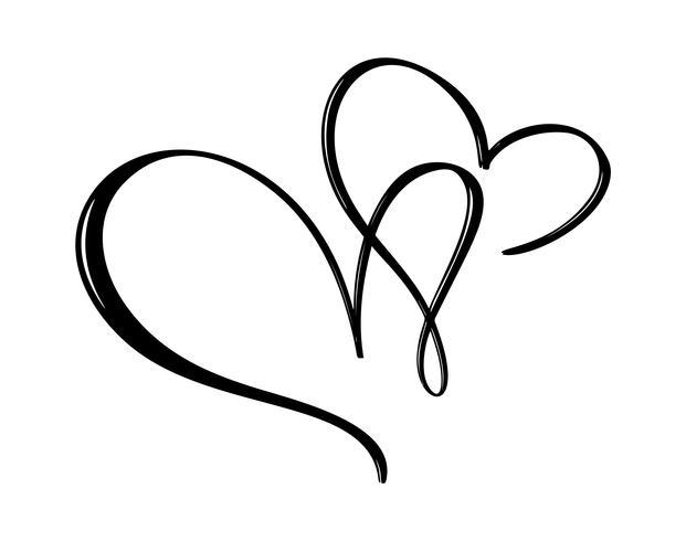 Dibujado a mano dos signos de amor del corazón. Ilustración de vector de caligrafía romántica. Símbolo del icono de Concepn para la camiseta, tarjeta de felicitación, boda del cartel. Elemento plano de diseño del día de san valentín.