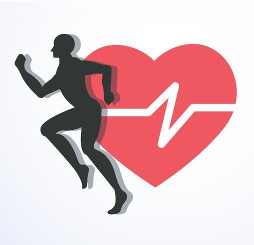 spring och röd värme med linjeikon, kör för hälsoikonvektor