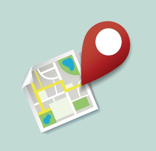 je bent hier, pinlocatiepictogram en kaartvector, het concept van reizen