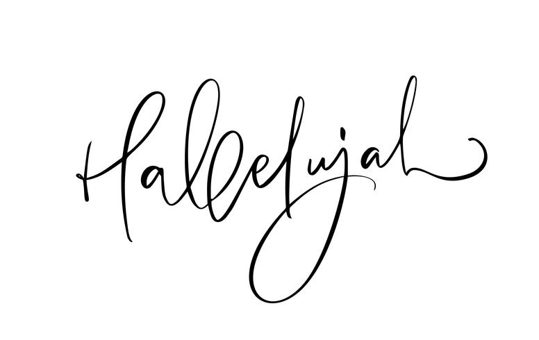 Hallelujah vector calligraphy Bible text. Christian phrase isolated on white background. Hand drawn vintage lettering illustration