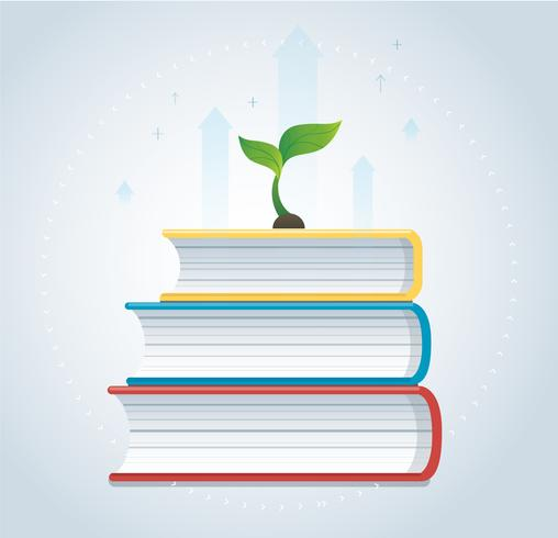 plant growth on the books icon design vector illustration, education concepts