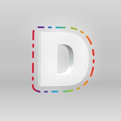 3D character from a fontset with colorful background, vector illustartion
