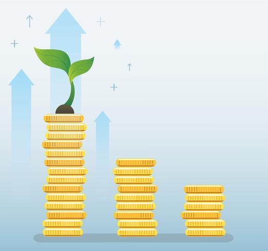 växt tillväxt på mynt graf, uppstart affärsidé vektor illustration