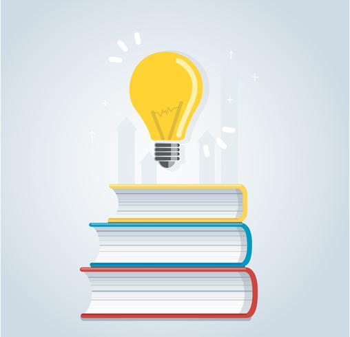 ampoule sur l'icône de livres. concepts d'éducation, conception illustration vectorielle