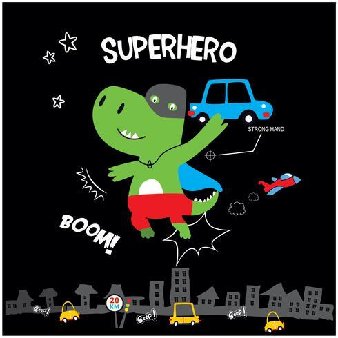 pequeño superhéroe dinosaurio vector