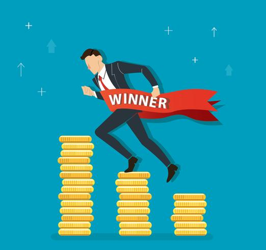 empresário rodando no gráfico de moedas para o sucesso, ilustração do conceito de negócio