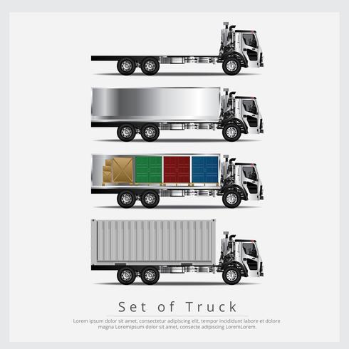 Conjunto de transporte de caminhões de carga com recipiente isolado ilustração vetorial vetor