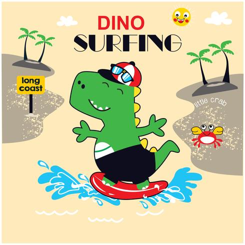 vecteur d'illustration dinosaure surfer.